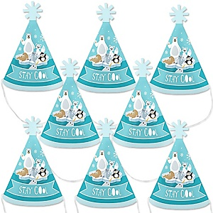 Arctic Polar Animals - Mini Cone Winter Baby Shower or Birthday Party Hats - Small Little Party Hats - Set of 8