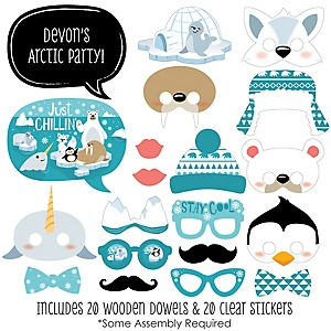 Arctic Polar Animals - 20 Piece Winter Baby Shower or Birthday Party Photo Booth Props Kit