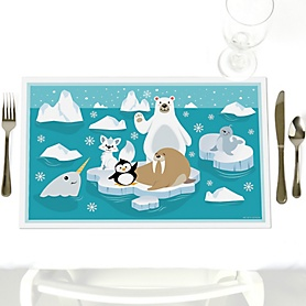 Arctic Polar Animals - Party Table Decorations - Winter Baby Shower or Birthday Party Placemats - Set of 12