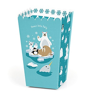 Arctic Polar Animals - Personalized Winter Baby Shower or Birthday Party Favor Popcorn Treat Boxes - Set of 12