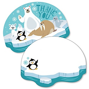 Arctic Polar Animals - Shaped Thank You Cards - Winter Baby Shower or Birthday Party Thank You Note Cards with Envelopes - Set of 12