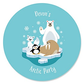 Arctic Polar Animals - Personalized Winter Baby Shower or Birthday Party Sticker Labels - 24 ct