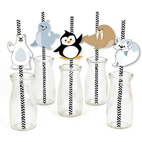 Arctic Polar Animals - Paper Straw Decor - Winter Baby Shower or Birthday Party Striped Decorative Straws - Set of 24