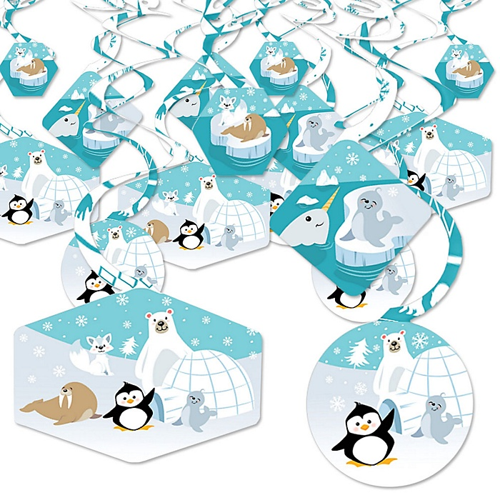 Arctic Polar Animals - Winter Baby Shower or Birthday Party Hanging Decor - Party Decoration Swirls - Set of 40