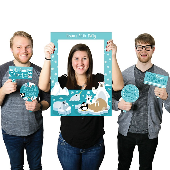 Arctic Polar Animals - Personalized Winter Baby Shower or Birthday Party Selfie Photo Booth Picture Frame and Props - Printed on Sturdy Material