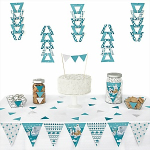 Arctic Polar Animals - Triangle Winter Baby Shower or Birthday Party Decoration Kit - 72 Piece