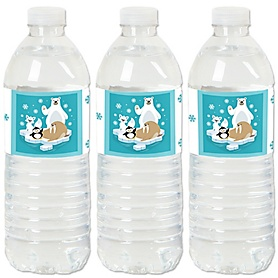Arctic Polar Animals - Winter Baby Shower or Birthday Party Water Bottle Sticker Labels - Set of 20