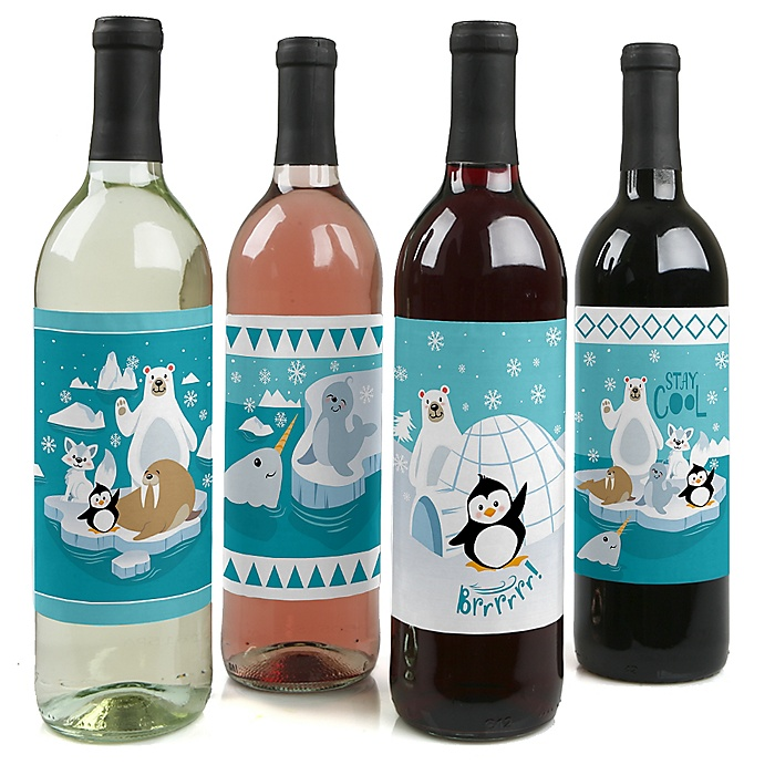 Arctic Polar Animals - Winter - Baby Shower or Birthday Party Decorations for Women and Men - Wine Bottle Label Stickers - Set of 4