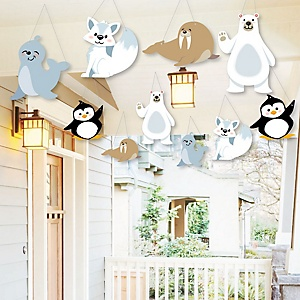 Hanging Arctic Polar Animals - Outdoor Winter Baby Shower or Birthday Party Hanging Porch and Tree Yard Decorations - 10 Pieces