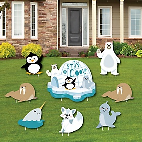 Arctic Polar Animals - Yard Sign and Outdoor Lawn Decorations - Winter Baby Shower or Birthday Party Yard Signs - Set of 8