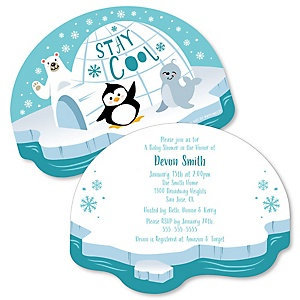 Arctic Polar Animals - Shaped Winter Baby Shower Invitations - Set of 12