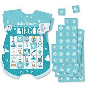 Arctic Polar Animals - Picture Bingo Cards and Markers - Winter Baby Shower Shaped Bingo Game - Set of 18