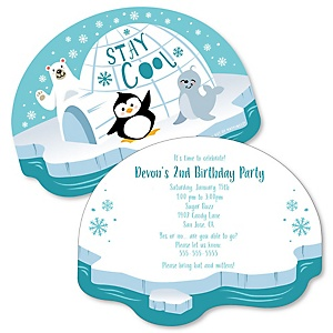 Arctic Polar Animals - Shaped Winter Birthday Party Invitations - Set of 12