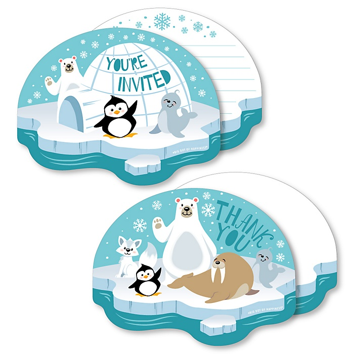 Arctic Polar Animals - 20 Shaped Fill-In Invitations and 20 Shaped Thank You Cards Kit - Winter Baby Shower or Birthday Party Stationery Kit - 40 Pack