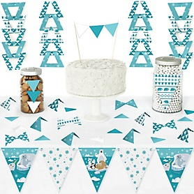 Arctic Polar Animals - DIY Pennant Banner Decorations - Winter Baby Shower or Birthday Party Triangle Kit - 99 Pieces