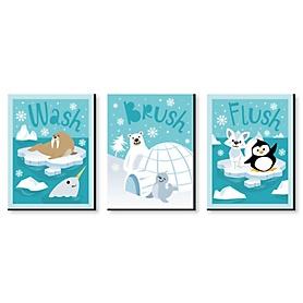 Arctic Polar Animals - Kids Bathroom Rules Wall Art - 7.5 x 10 inches - Set of 3 Signs - Wash, Brush, Flush