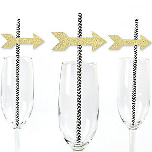Gold Glitter Arrow Party Straws - No-Mess Real Gold Glitter Cut-Outs and Decorative Boho Tribal Baby Shower, Bachelorette or Birthday Party Paper Straws - Set of 24