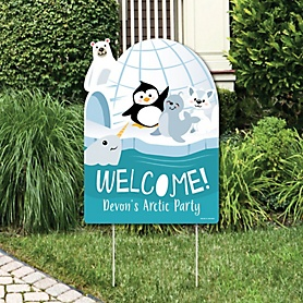 Arctic Polar Animals - Party Decorations - Winter Baby Shower or Birthday Party Personalized Welcome Yard Sign