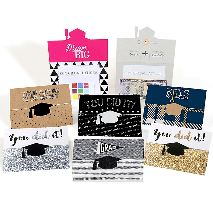 Assorted Graduation Cards - Graduation Party Money Holders - 8 ct.