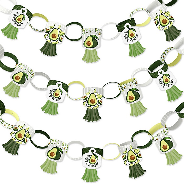 Hello Avocado - 90 Chain Links and 30 Paper Tassels Decoration Kit - Fiesta Party Paper Chains Garland - 21 feet