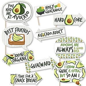 Funny Hello Avocado - 10 Piece Fiesta Party Photo Booth Props Kit