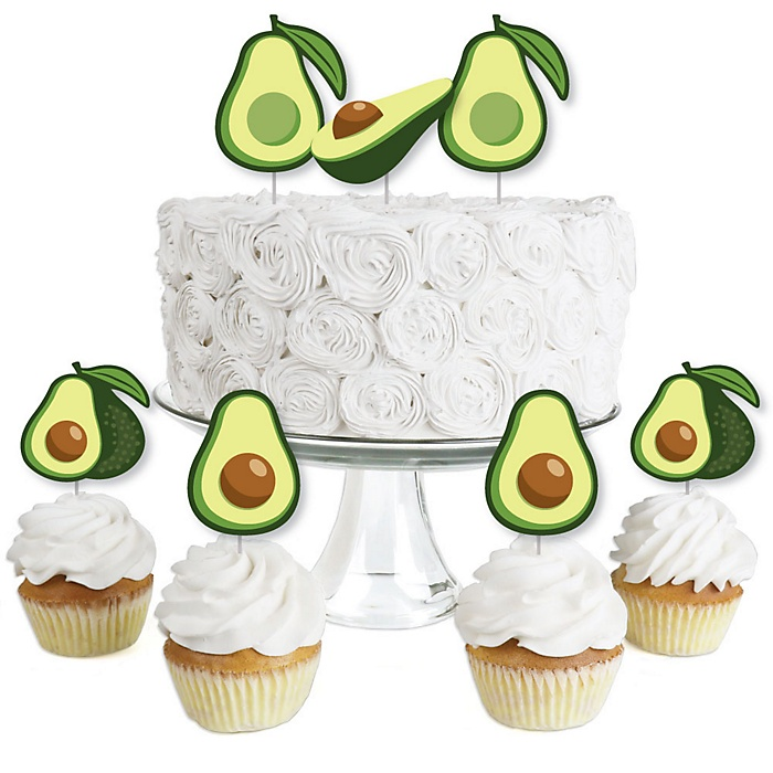 Hello Avocado - Dessert Cupcake Toppers - Fiesta Party Clear Treat Picks - Set of 24