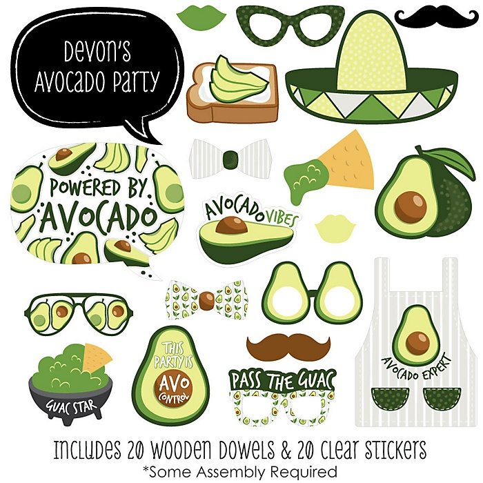 Hello Avocado - 20 Piece Fiesta Party Photo Booth Props Kit