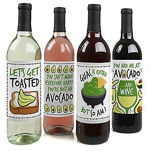 Hello Avocado - Fiesta Party Decorations for Women and Men - Wine Bottle Label Stickers - Set of 4