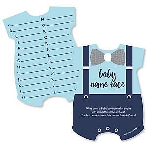 Baby Boy - Baby Name Race Cards - Blue Baby Shower Game - Set of 20