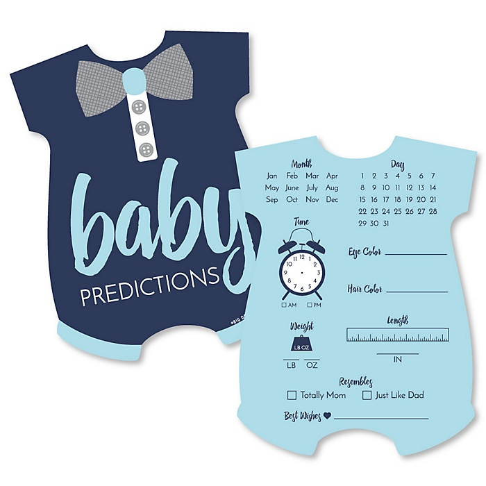 Baby Boy - Baby Prediction Cards - Blue Baby Shower Game - Set of 20