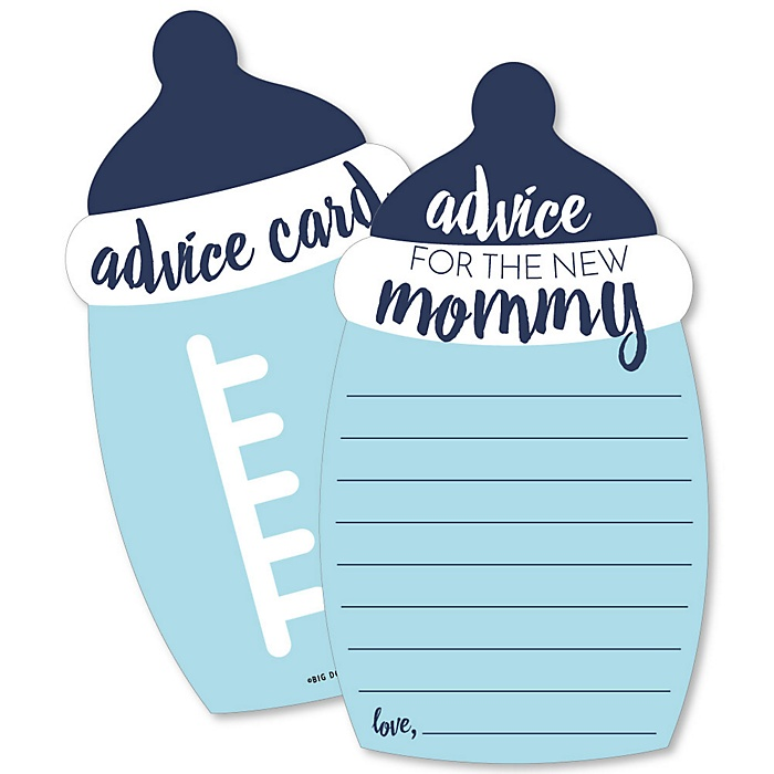 Baby Boy - Blue Bottle Wish Card Baby Shower Activities - Shaped Advice Cards - Set of 20