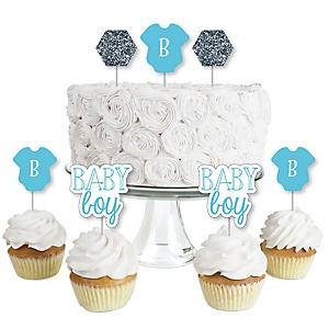 Baby Boy - Dessert Cupcake Toppers - Baby Shower Clear Treat Picks - Set of 24