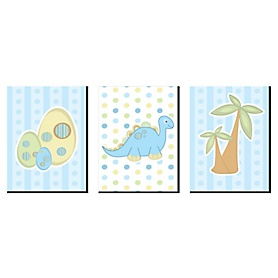 Baby Boy Dinosaur - Boy Nursery Wall Art and Kids Room Decor - 7.5 x 10 inches - Set of 3 Prints