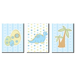 Baby Boy Dinosaur - Boy Nursery Wall Art and Kids Room Décor - 7.5 x 10 inches - Set of 3 Prints