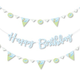 Baby Boy Dinosaur - Birthday Party Letter Banner Decoration - 36 Banner Cutouts and Happy Birthday Banner Letters