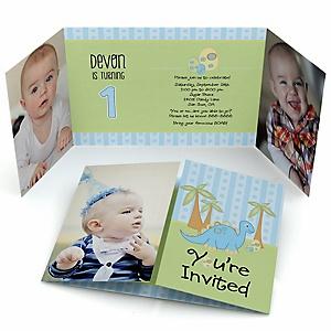 Baby Boy Dinosaur - Personalized Birthday Party Photo Invitations - Set of 12