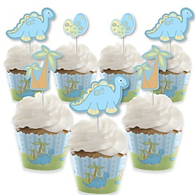 Baby Boy Dinosaur - Cupcake Decoration - Baby Shower or Birthday Party Cupcake Wrappers and Treat Picks Kit - Set of 24