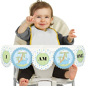 Baby Boy Dinosaur 1st Birthday - I am One - First Birthday High Chair Banner
