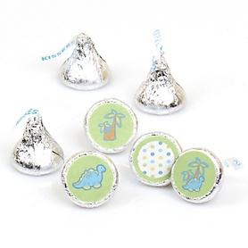 Baby Boy Dinosaur - Round Candy Labels Party Favors - Fits Hershey's Kisses - 108 ct