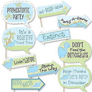 Funny Baby Boy Dinosaur - 10 Piece Baby Shower or Birthday Party Photo Booth Props Kit