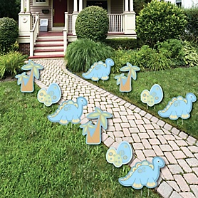 Baby Boy Dinosaur - Lawn Decorations - Outdoor Baby Shower or Birthday Party Yard Decorations - 10 Piece