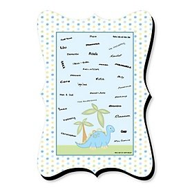 Baby Boy Dinosaur - Unique Alternative Guest Book - Baby Shower or Birthday Party Signature Mat