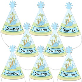 Baby Boy Dinosaur - Mini Cone Baby Shower or Birthday Party Hats - Small Little Party Hats - Set of 8