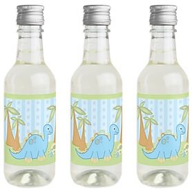 Baby Boy Dinosaur - Mini Wine and Champagne Bottle Label Stickers - Baby Shower or Birthday Party Favor Gift - For Women and Men - Set of 16