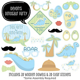 Baby Boy Dinosaur - 20 Piece Baby Shower or Birthday Party Photo Booth Props Kit