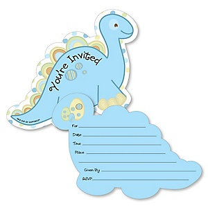 Baby Boy Dinosaur - Shaped Fill-In Invitations - Baby Shower or Birthday Party Invitation Cards with Envelopes - Set of 12