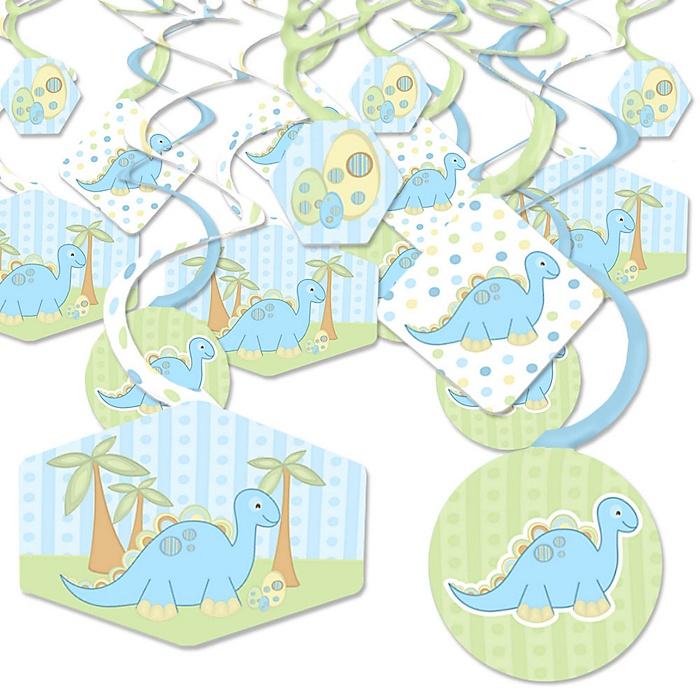Baby Boy Dinosaur - Baby Shower or Birthday Party Hanging Decor - Party Decoration Swirls - Set of 40