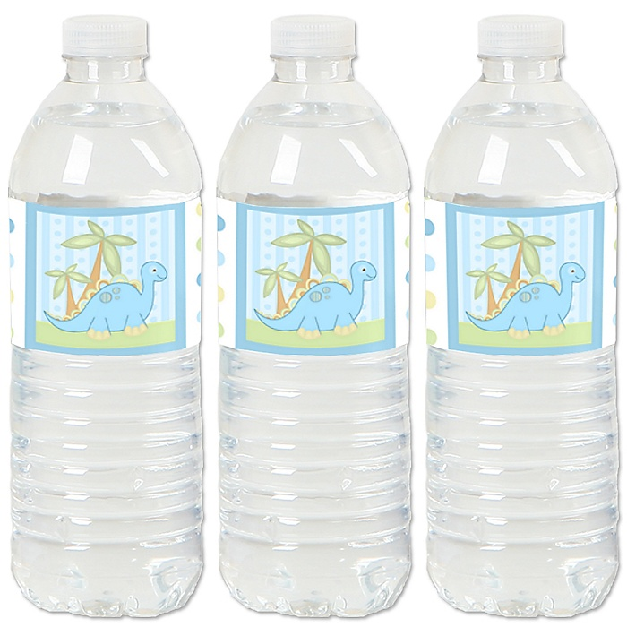 Baby Boy Dinosaur - Baby Shower or Birthday Party Water Bottle Sticker Labels - Set of 20