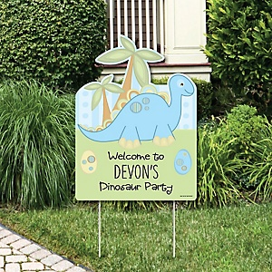 Baby Boy Dinosaur - Party Decorations - Baby Shower or Birthday Party Personalized Welcome Yard Sign