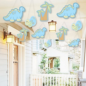 Hanging Baby Boy Dinosaur - Outdoor Baby Shower or Birthday Party Hanging Porch and Tree Yard Decorations - 10 Pieces